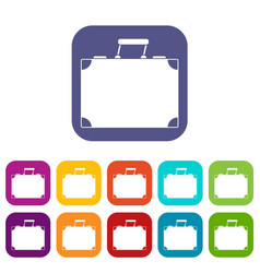 Travel bag icons set flat vector