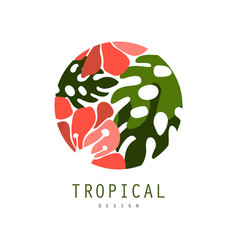tropical logo template design round badge with vector image