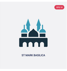 Two color st mark basilica icon from monuments vector