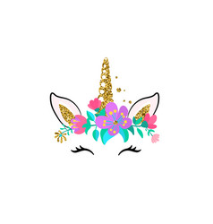 Unicorn cute isolated on white vector