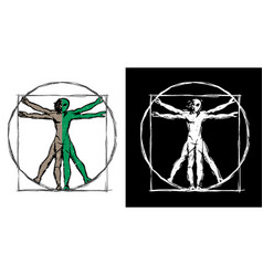 vitruvian man ufo alien hybrid sketch vector image