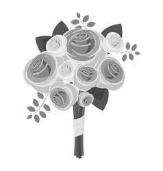 Wedding bouquet icon gray monochrome style vector image