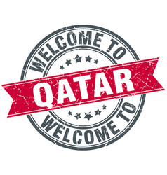 welcome to qatar red round vintage stamp vector image