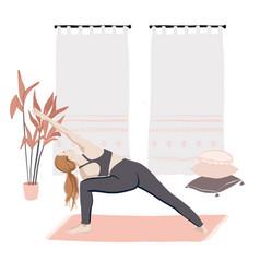 woman doing stratching indoor sport class vector image