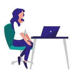 Woman in office workplace with desk and laptop vector