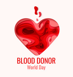 World blood donor day - red paper cut heart vector