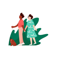 young man and woman walking holding hands on vector image