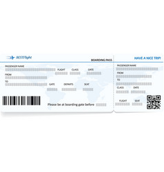blue template of boarding pass ticket vector image vector image