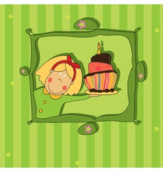 girl with chocolate cake vector image