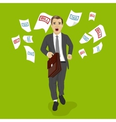 businessman running away from tax and bill papers vector image