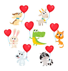 cute and funny baby animals holding red heart vector image