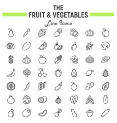 fruit and vegetables line icon set food symbols vector image