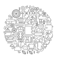 kitchen tools and equipment in circle - concept vector image