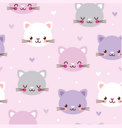 seamless pattern with faces of cats vector image
