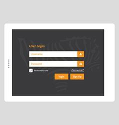 Tablet User Login vector image vector image