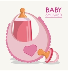 Baby bottle bib and pacifier design vector image