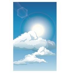 Blue sky clouds sun shinign vector