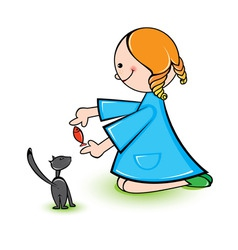 girl with cat vector image