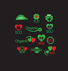 green organic eco natural abstract icon set vector image vector image