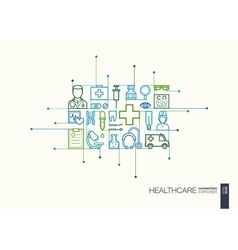 Healthcare integrated thin line symbols vector image vector image