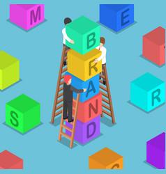 isometric businessman building brand block vector image vector image