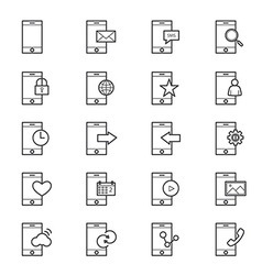 Mobile Phone Device Icons Line vector image vector image