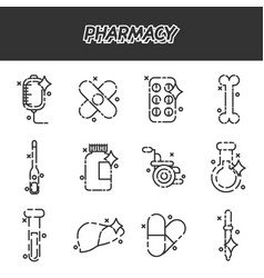 pharmacy cartoon concept icons vector image