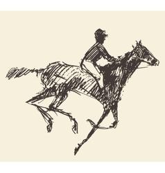 Rider horse jockey retro style hand drawn sketch vector image vector image