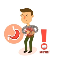 Sick character stomach ache vector image vector image