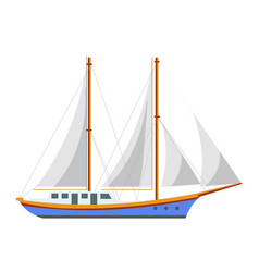yacht sailboat or sailing frigate ship sea cruise vector image