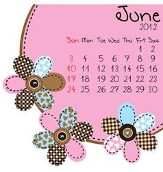2012 june calendar vector image vector image
