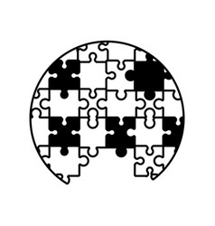 circle puzzle solution monochrome vector image