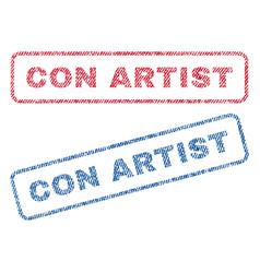 Con artist textile stamps vector