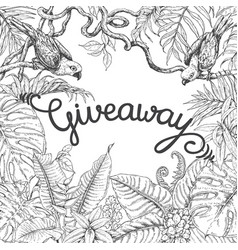 giveaway banner with tropical birds vector image
