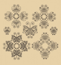 set Victorian butterfly ornaments 01 vector image vector image