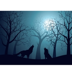 Wolf howling in the night forest3 vector