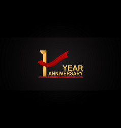 1 year anniversary design with red ribbon vector