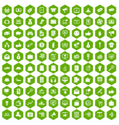 100 digital marketing icons hexagon green vector