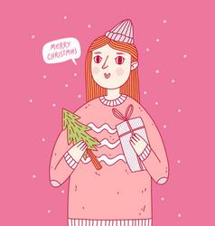 A girl wishing you merry christmas vector