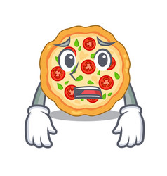 afraid margherita pizza isolated with cartoons vector image