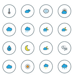 air icons colored line set with sunlight raindrop vector image