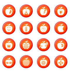 Apple logo icons set red vector