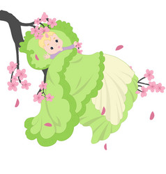 baby on the sakura branch vector image
