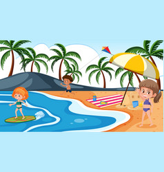 background scene with children playing on the vector image