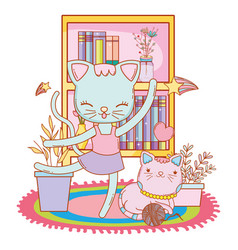 Ballerina cat and relaxed kitty cartoon vector