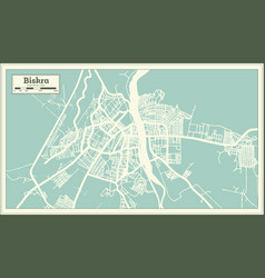 biskra algeria city map in retro style outline map vector image
