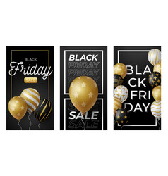 Black friday vertical banner for stories golden vector