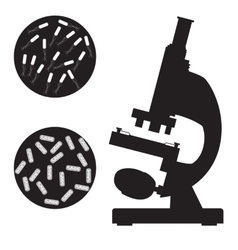 Black medical microscope and bacterium vector image