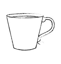 Blurred silhouette image cartoon porcelain mug of vector