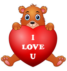 cartoon bear holding red heart vector image